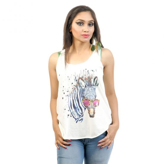 """T-shirt with """"Zebra Art"""" transfer print with offwhite."""