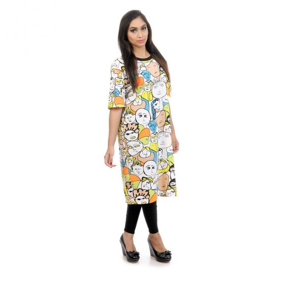 Elbow length sleeves with yellow and multicolor.
