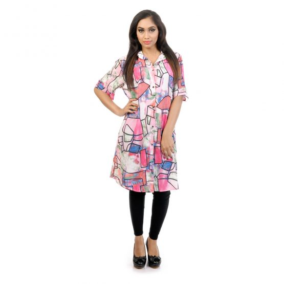 Pink Pastels Abstract print dress with multi color