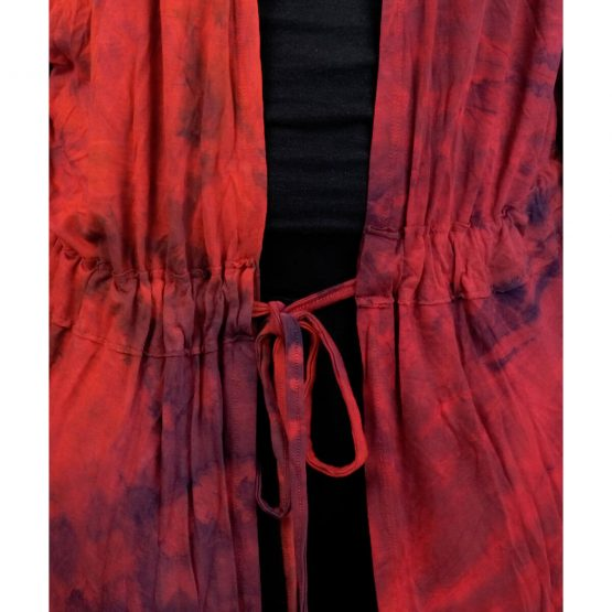 Tie & dye shrug robe with red and multicolor.