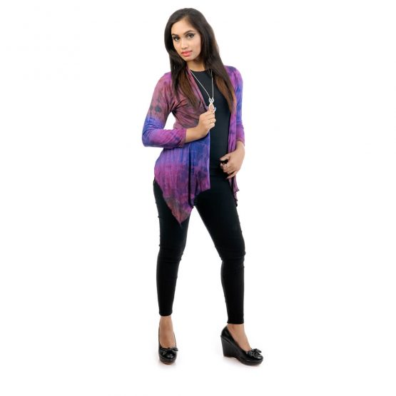 Tie & dye, 3/4th sleeve waterfall shrug long with purple and multicolor.