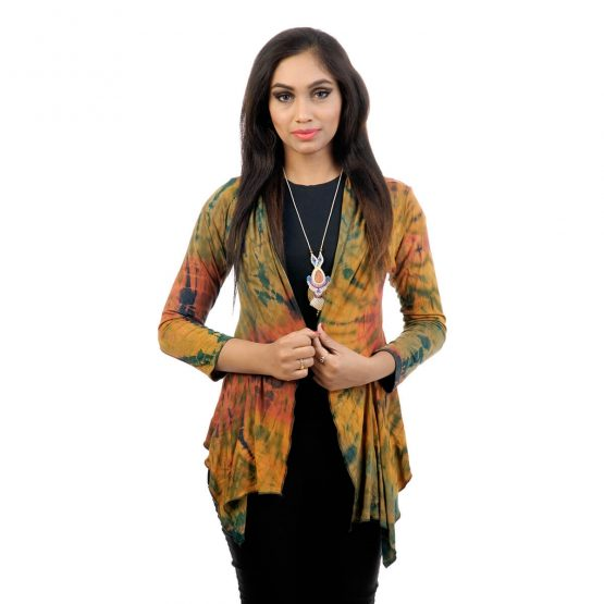 Tie & dye, 3/4th sleeve waterfall shrug short with Ochre and multicolor.