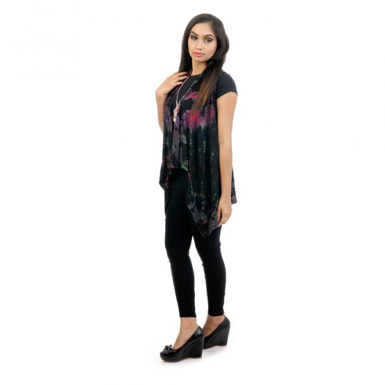 Tie & dye, Lounge fit in sleeveless shrug with black color