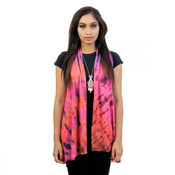 Tie & dye, Lounge fit; sleeveless shrug with pink and purple color