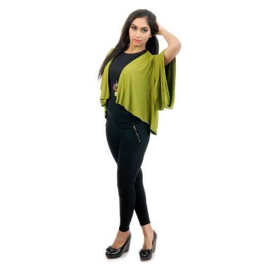 Elbow length sleeve, lounge fit Kimono Shrug with green Color