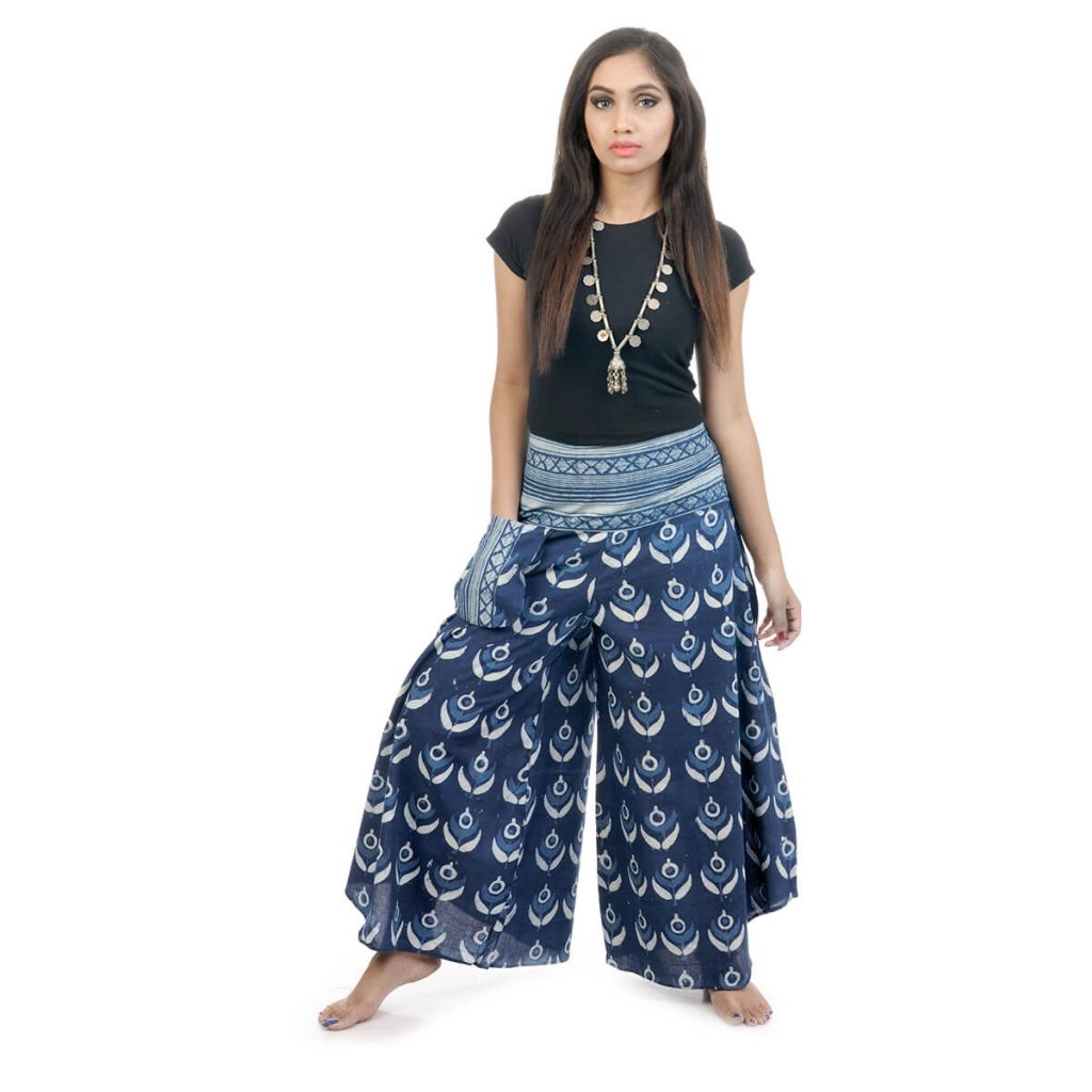Block printed,bell leg palazzo and pants with indigo color