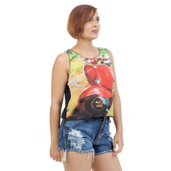 Girl's Sleeveless Crop Top with Vespa Print from Funky Fusion