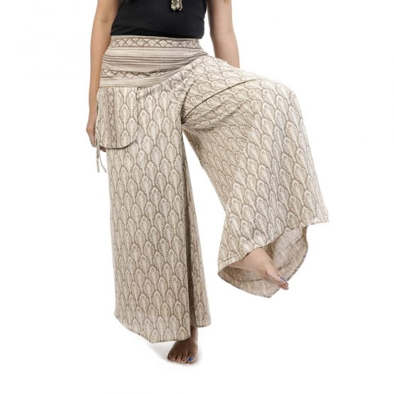 Block printed,bell leg palazzo and pants with grey olor