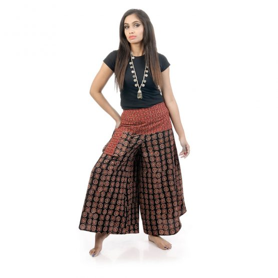 Block printed,bell leg palazzo and pants with maroon and black color