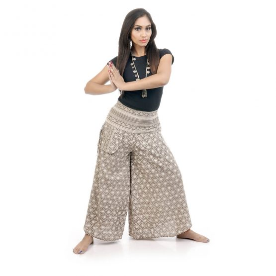 Block printed,bell leg palazzos and pants with grey color