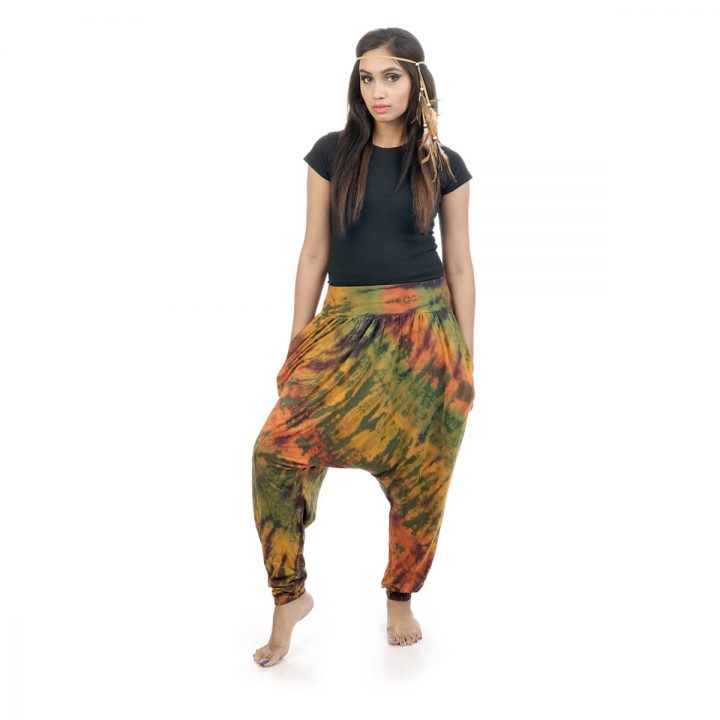 Tie & dye, Afghan trousers with elastic waistband and 2 pockets