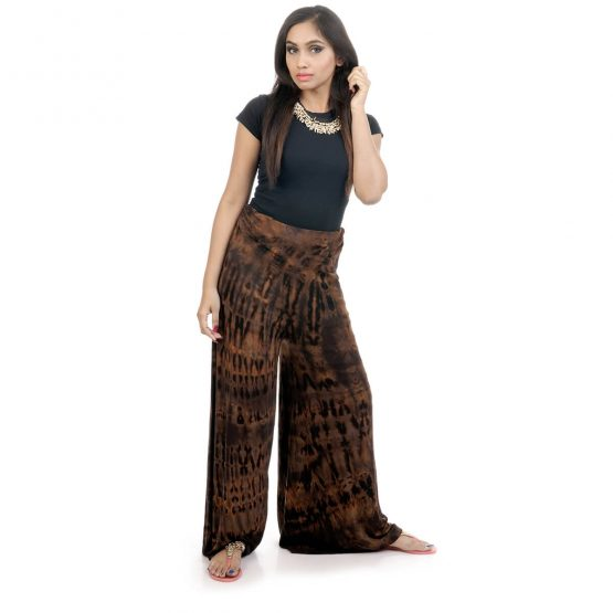 Tie & dye, lounge-fit palazzos with elastic waistband