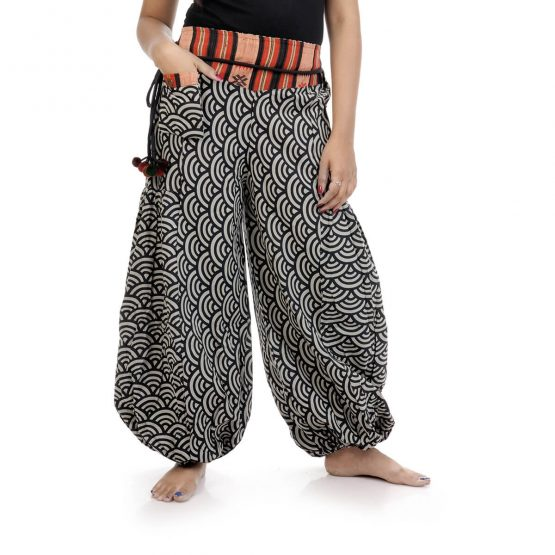 Harem pants and trousers in block print, with black and grey color