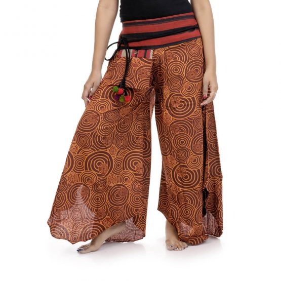 Bell leg palazzo pants with brown color