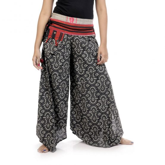 Bell leg palazzo pants with black and grey color