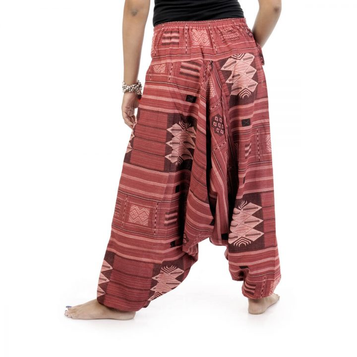 Woven Aztec Afghan trousers and pants with brick red color