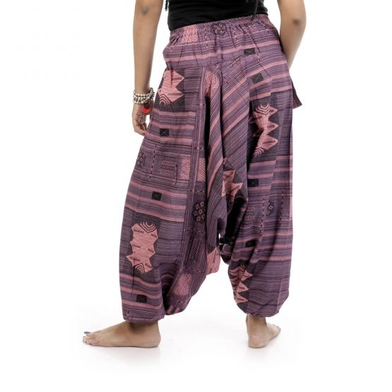 Woven Aztec Afghan trousers and pants with purple and pink color