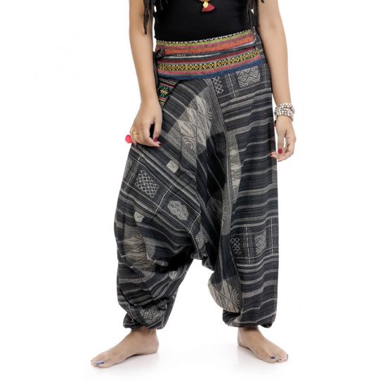 Woven Aztec Afghan trousers and pants with black and grey color
