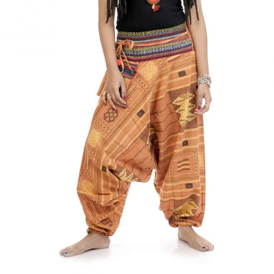 Woven Aztec Afghan trousers and pants with yellow color