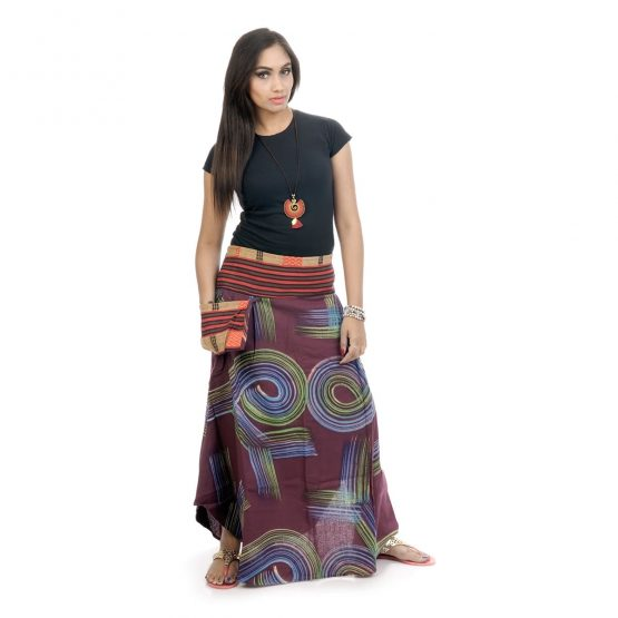 Block printed, ankle-length skirt with purple color.