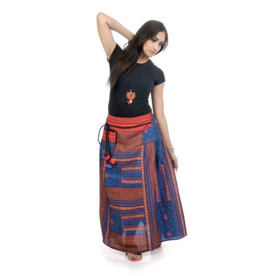 Block printed, ankle-length skirt with blue color.