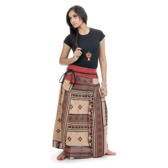 Block printed, ankle-length skirt with brown color.
