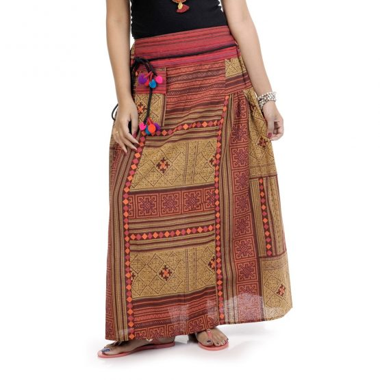 Block printed, ankle-length skirt with rust orange color.
