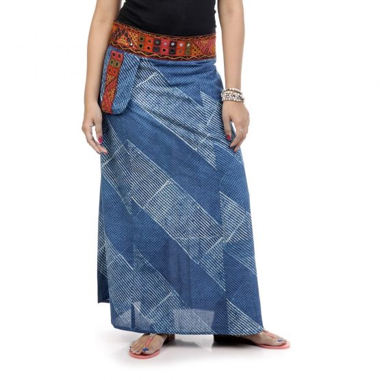A-line skirt with single pocket and Kutch border waistline with Indigo Color