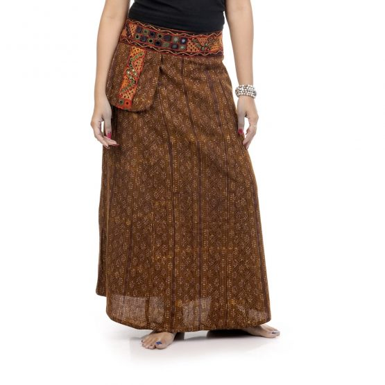 A-line skirt with single pocket and Kutch border waistline with brown Color