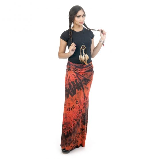 Tie & dye, fitted A-line skirt with brown color