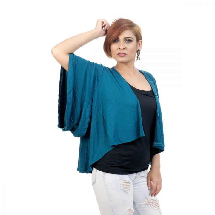 Elbow length sleeve, lounge fit Kimono Shrug with Turquoise Blue Color