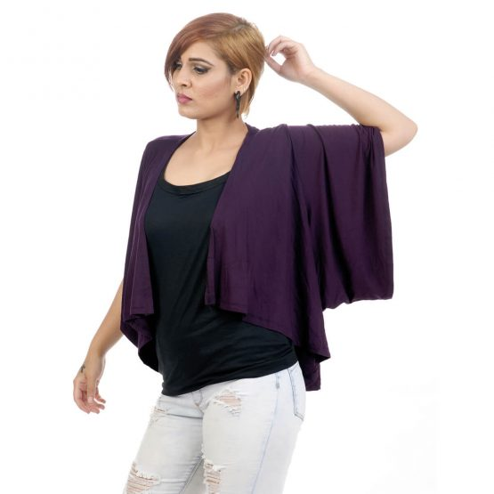 Elbow length sleeve, lounge fit Kimono Shrug with purple Color