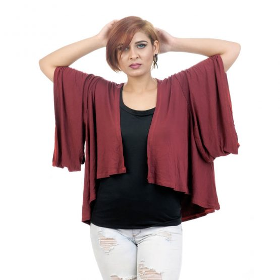 Elbow length sleeve, lounge fit Kimono Shrug with red color