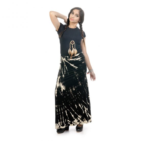 Tie & dye, fitted A-line skirt with black Color
