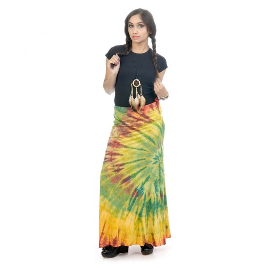 Tie & dye, fitted A-line skirt with multicolor