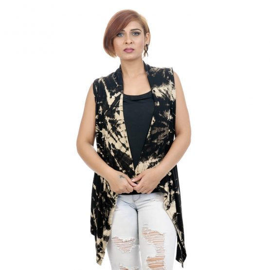 Tie & dye, Lounge fit; sleeveless shrug with black