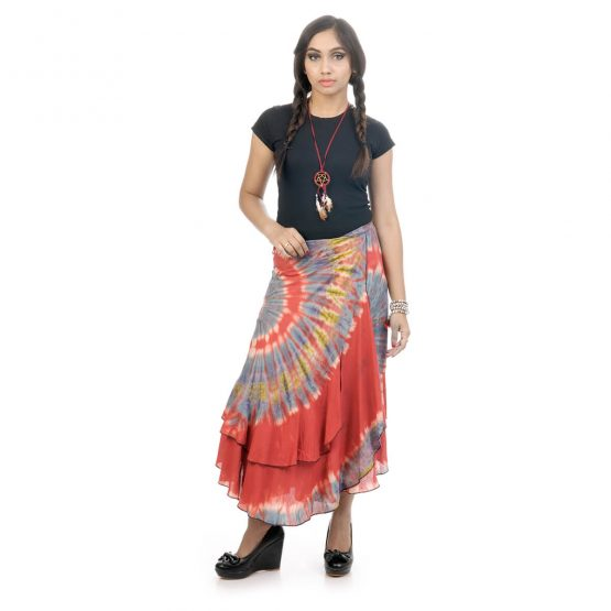 tie & dye wrap-around skirt with red and multicolor.