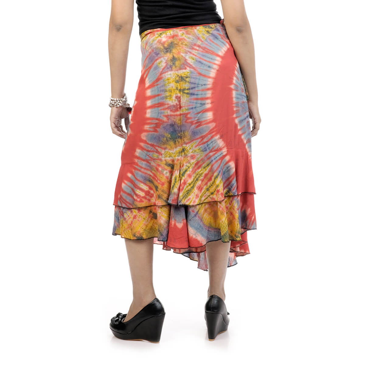 Reversible Wrap Around Skirt Four Gore Flared May Be Wred At Front And Tied Back Or