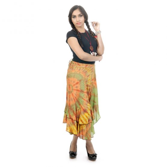 tie & dye wrap-around skirt with light green and multicolor.