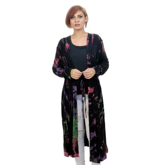 Tie & dye shrug robe with black and multicolor.