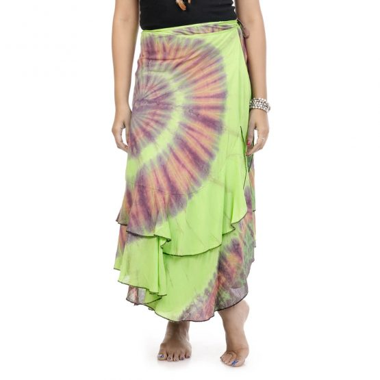 tie & dye wrap-around skirt with green and multicolor.