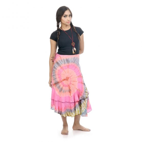 wrap-around skirt with pink and multicolor.