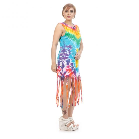 Tassel dress with transfer print with yellow and multicolor.
