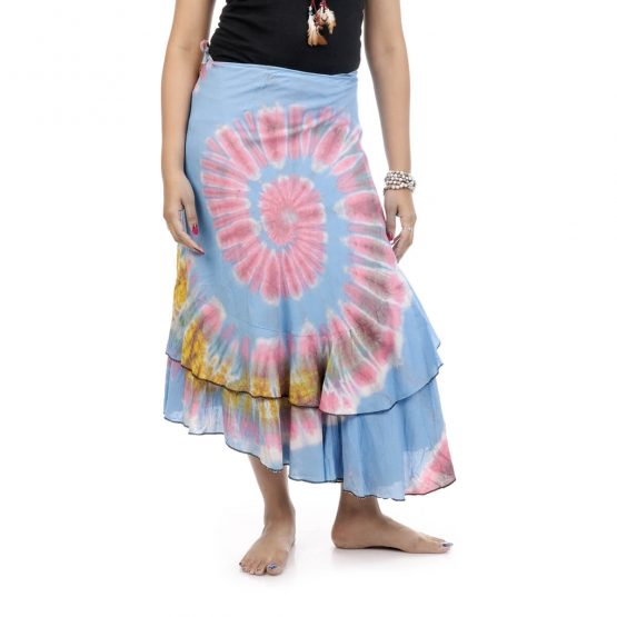 tie & dye wrap-around skirt with blue and multicolor.