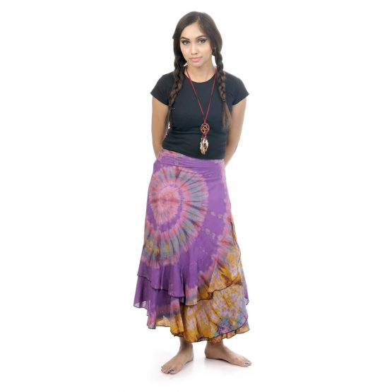 tie & dye wrap-around skirt with purple and multicolor.