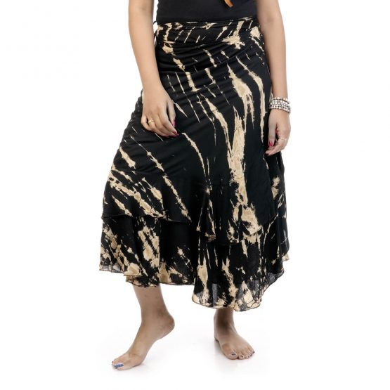 ie & dye wrap-around skirt with black and beige color