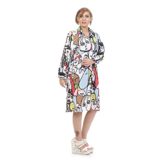 shirt dress with collar and 3/4th sleeves with Pastel tones and multicolor.