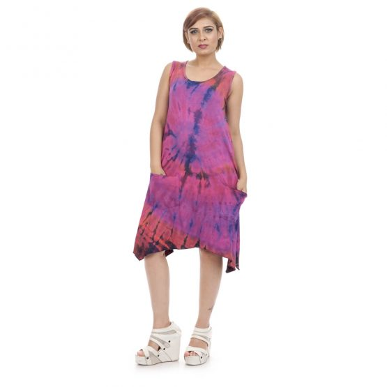 knee length elf dress with pockets with purple color
