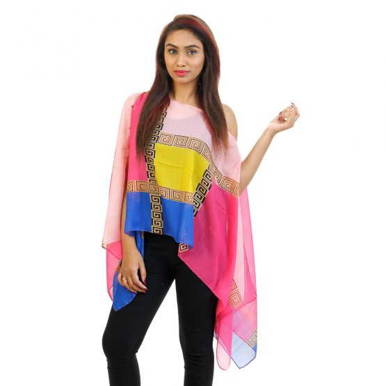Abstract Print 4 Way Wearable Poncho in Pink with multi color