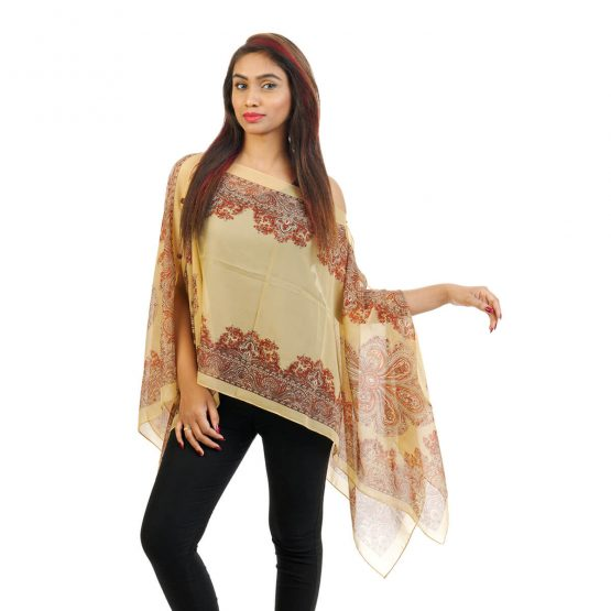 Abstract Print 4 Way Wearable Poncho in Beige with multi color